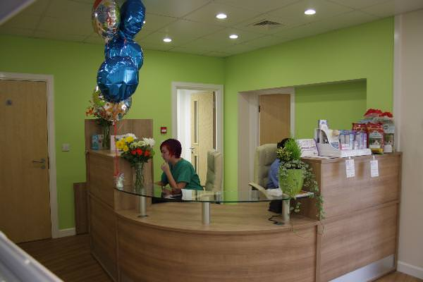 Reception desk - complete with staff!